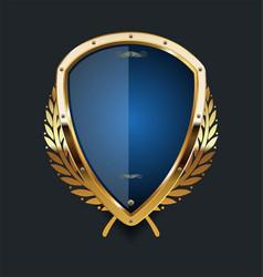 Golden shield and laurel wreath retro design 06 vector