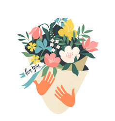hands holding bouquet flowers with a note vector image