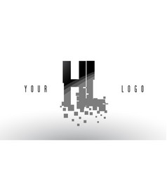 Hl h l pixel letter logo with digital shattered vector