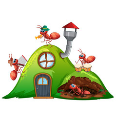House with many ants playing music vector