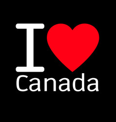 I love canada lettering design with heart sign vector