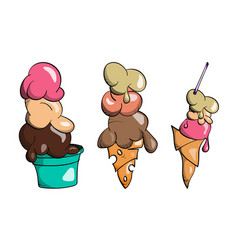 Ice cream collection doodle vector