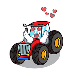 In love tractor mascot cartoon style vector