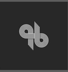 Initials qb or bq monogram logo parallel thin vector