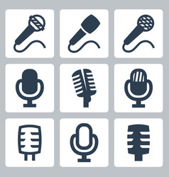 isolated microphone icons set vector image