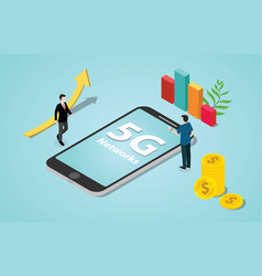 isometric 5g new internet speed revolution vector image