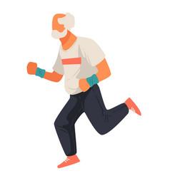 Jogging senior character active pensioner vector
