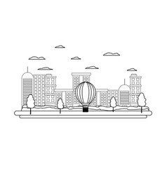 Line building urban architecture and air balloon vector