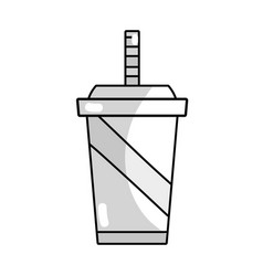 Line delicious refreshment in plastic cup to vector