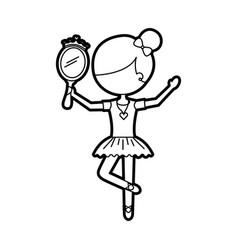 Little girl dancer ballet holding princess mirror vector