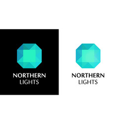 Logo with northern lights shine vector