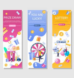 Lottery vertical web banner template set vector