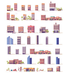 Low poly buildings set vector