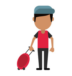 man tourist travel suitcase vector image