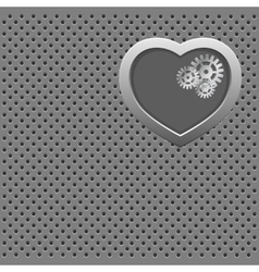 Mechanical silver heart vector