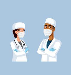Medical team doctors wearing protective vector