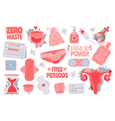 menstruation hygiene female period products vector image
