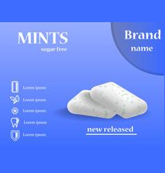 Mints sugar free gums concept background vector