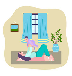 Mother playing with her baby moving games happy vector
