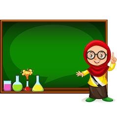Muslim girl presenting with blackboard vector
