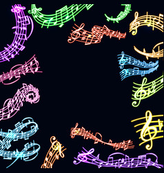 notes music neon melody colorfull musician vector image