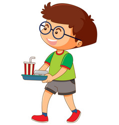 One boy holding tray of food and drink vector