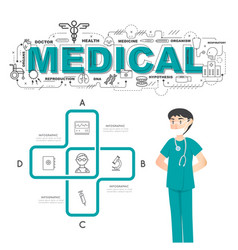 Physician with medical icons of infographic design vector