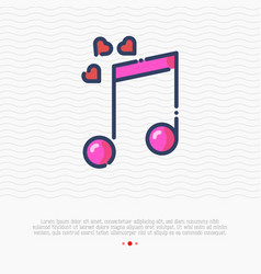 pink musical note with hearts thin line icon vector image
