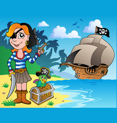 Pirate girl on coast 1 vector