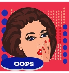 Pop art surprised pretty woman face with open vector