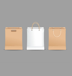 realistic detailed 3d paper bag set vector image