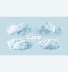realistic white fluffy clouds set isolated on vector image