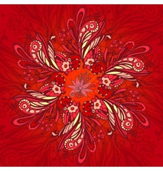 Red flower seamless pattern vector