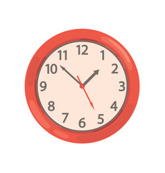 Red round wall clock on a vector