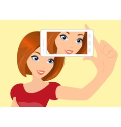 Redhair girl is taking selfie vector