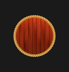 Round wooden frame with rope isolated on dark vector
