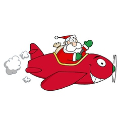 Santa Flying With Christmas Plane vector