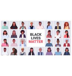 Set african american people avatars black lives vector