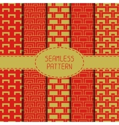 Set of geometric national chinese seamless pattern vector image