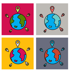 Set of globe earth with color pointer marks vector