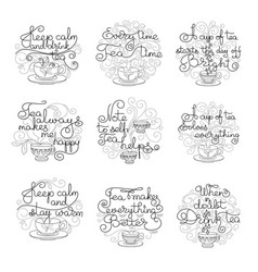 set of handwritten lettering of tea vector image