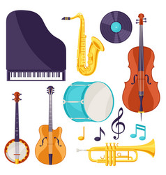 Set of musical instruments jazz blues vector