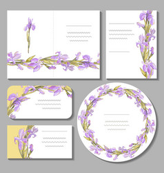 Set with floral romantic templates vector