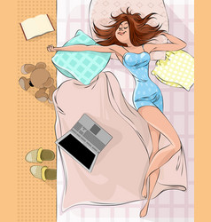 Sleeping woman on the bed vector