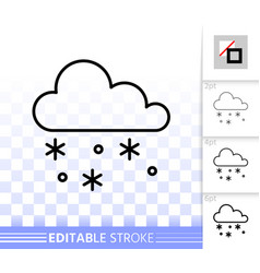 snow simple black line icon vector image