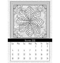 Snowflake coloring book page calendar november vector