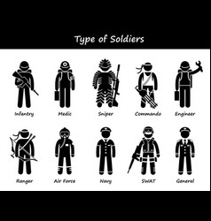 Soldier types and class stick figure pictogram vector