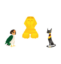sphinx harpy and black cat symbols of egypt vector image