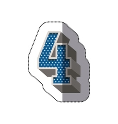 Sticker three-dimensional number four dotted in vector