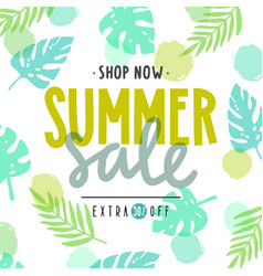 Summer sale poster tropical leaves vector